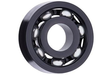 xiros® radial ball bearings, xirodur S180, glass balls, cage made of PA, mm