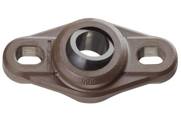 High-temperature flange bearings with 2 mounting holes, EFOM-HT, igubal®, spherical ball iglidur® X
