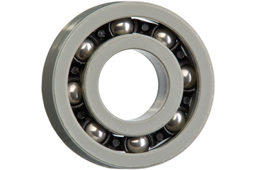xiros® radial deep groove ball bearing, xirodur G220, stainless steel balls, cage made of PA, mm