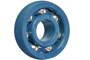 xiros® radial ball bearings, spherical outer diameter, xirodur M180, stainless steel balls, cage made of xirodur M180, mm