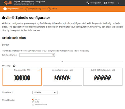 drylin® lead screw configurator