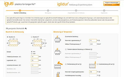 iglidur® bar stock service life calculator