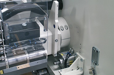 The pressure beam bearing of a veneering machine of Heinrich Kuper GmbH