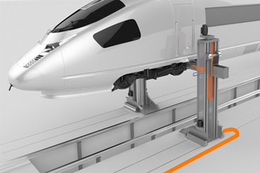 Lifting platform for trains with e-chains and chainflex cables